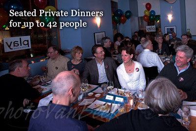 Seated Private Dinners for up to 42 people